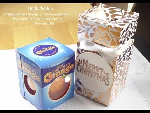 Linda Parker UK Independent Stampin' Up! Demonstrator from Hampshire @ Papercraft With Crafty : Self-Closing Decanter Style Box for a Terry's Chocolate Orange - Beautiful Year of Cheer DSP