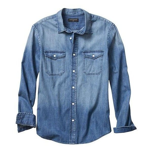 Banana Republic Men Factory Denim Shirt (455 ARS) ❤ liked on Polyvore featuring men's fashion, men's clothing, men's shirts, men's casual shirts, mens french cuff shirts, mens slim fit button down shirts, mens slim fit denim shirt, mens slim fit shirts and mens button shirts