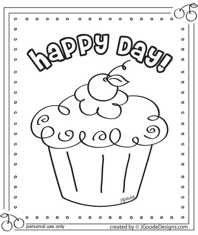 have an activity table where the kids can color this picture this can be practice for their real cake decorating - Cupcakes Coloring Pages Printable