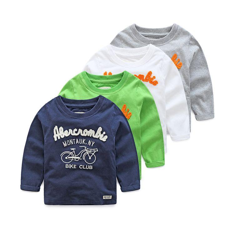2017 г. новая футболка с длинными рукавами для мальчиков детская повседневная хлопковая футболка для маленьких девочек весенние топы одежда для детей с рисунком велосипеда купить на AliExpress