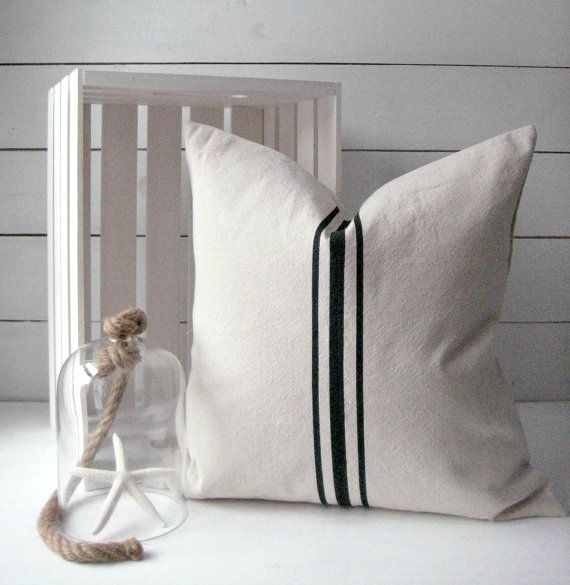 Grainsack pillow modern farmhouse french country decor for Minimalist country decor