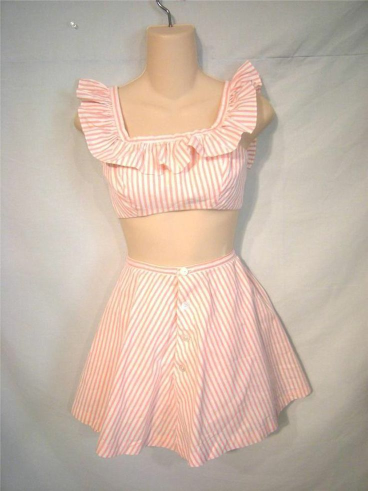 Vtg 50s Pink & White Stripe Skort, Short Set w/ Ruffled Bra Top, B 30