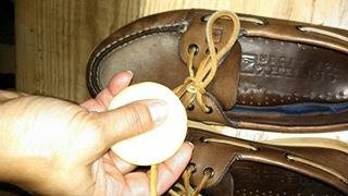 Use BKZW on the Achilles of your leather shoes to soften them ... and treat your laces with BKZW to keep 'em tied.. and water resisitent!