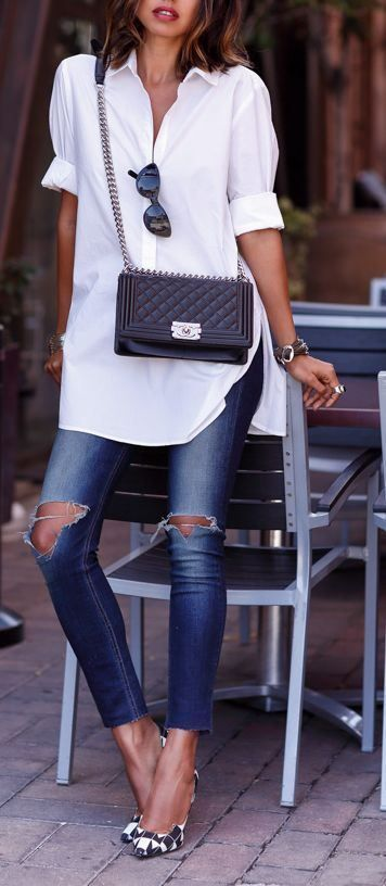 summer casual addict: shirt   bag   rips   heels