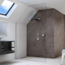 Paroi de douche fixe sur mesure pour sous-pentes, Oversize