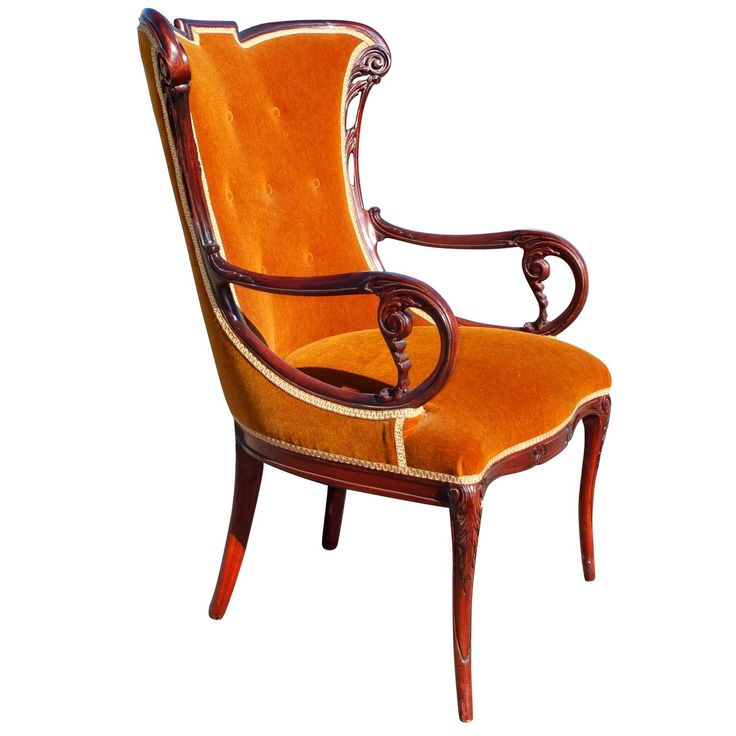 Grosfeld House Open Arm Rosewood Wingback Chair | From a unique collection of antique and modern wingback chairs at https://www.1stdibs.com/furniture/seating/wingback-chairs/