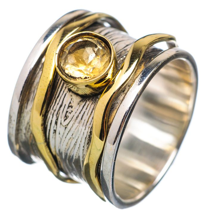 Perfect Spinner Ring Two Tone Citrine Spinner