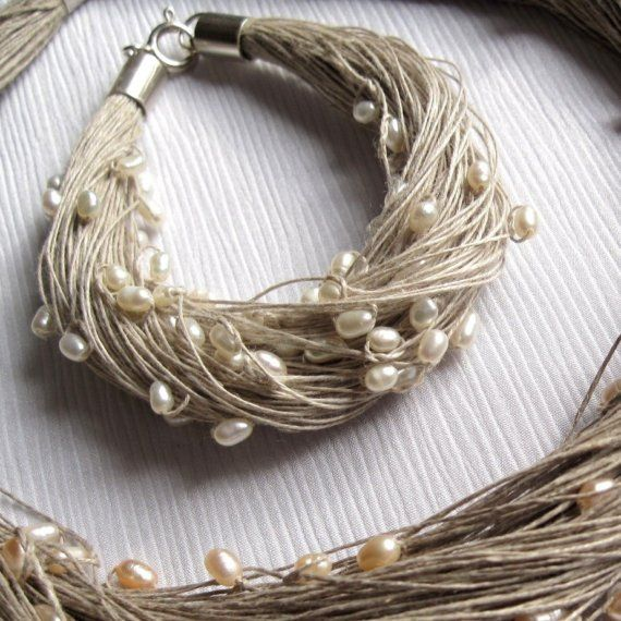 natural pearls linen bracelet