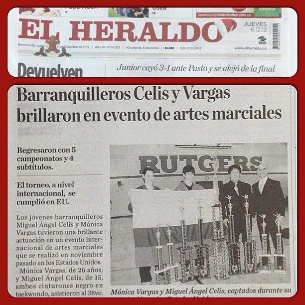 Reportaje EL HERALDO, sección deportiva. Instructores Monica Vargas y Miguel Celis obtienen 9 triunfos en Abierto de Artes Marciales en EEUU.