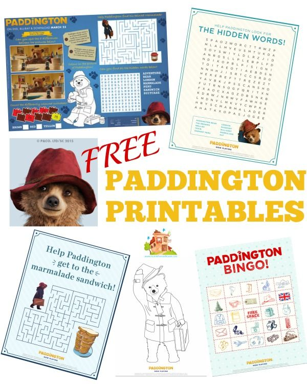 Free paddington Printables.  Over 15 free paddington bare printables and activities for kids
