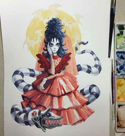 amandaliart:  Sometimes you paint stuff and try to fix it with gouache and end up not really fixing anything at all  This will be up at Cartoon Network for the month of Oct  #winonaryder #beetlejuice #lydiadeetz #sandworm #watercolor #gouache #painting #illustration #artwork #amandaliart #fanart
