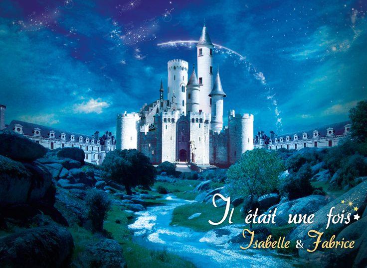 Il était une fois... Création d'un faire-part de mariage inspiré du thème de Disney et des contes de fées. On y aperçoit le château de la Belle au bois dormant, un ruisseau et un ciel étoilé. Photomontage. Format 15 x 10 cm. Thème : Disney et cinéma.