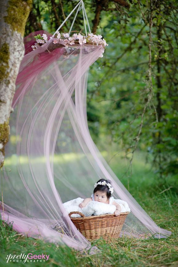I bet I could make this canopy. Grapevine wreath, flower garland and some tulle