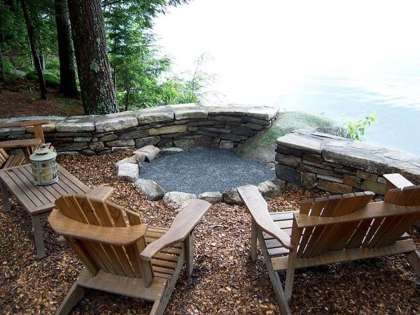 Fire pit tied into retaining wall | Outdoor fire pit designs, Outdoor fire pit