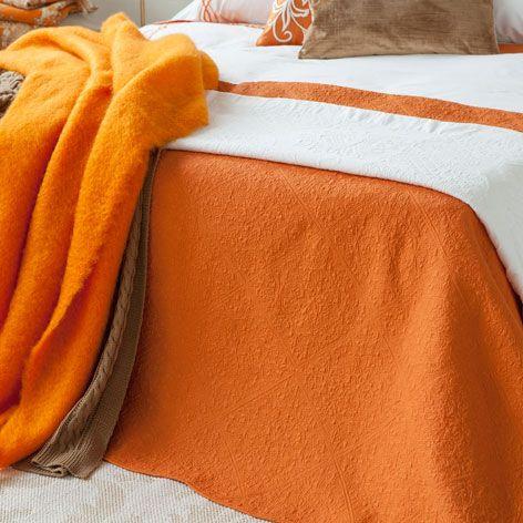manta mohair flecos naranja