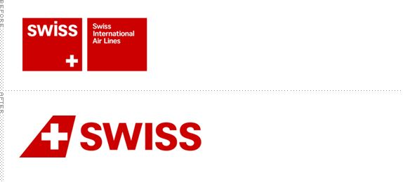 Swiss Air Lines Logo, Before and After