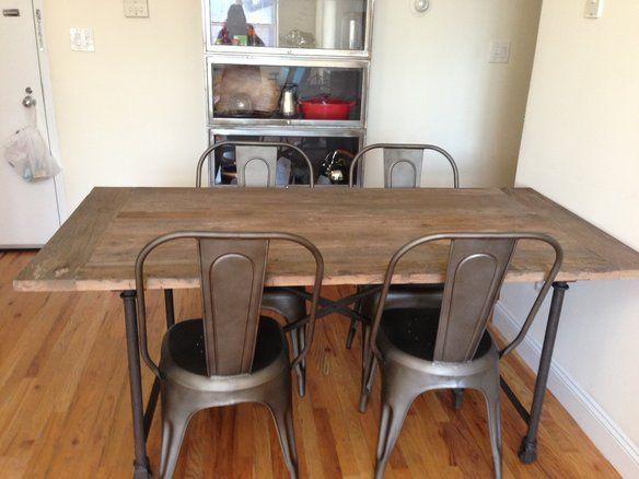 Restoration Hardware Flatiron Table With Gunmetal Chairs