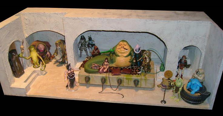 jackoftradze custom star wars action figures  jabba u0026 39 s palace diorama shelf display