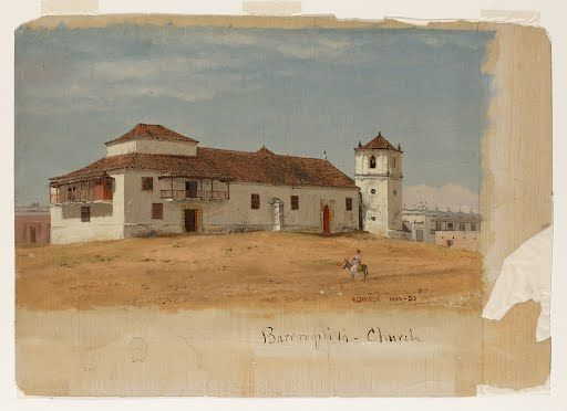 Columbia, Baranquilla Church Frederic Edwin Church May 1853 Brush and oil paint graphite onpaperboard  This church seems  so simple and strong.  The location appears remote allowing one to concentrate on really getting close to God.
