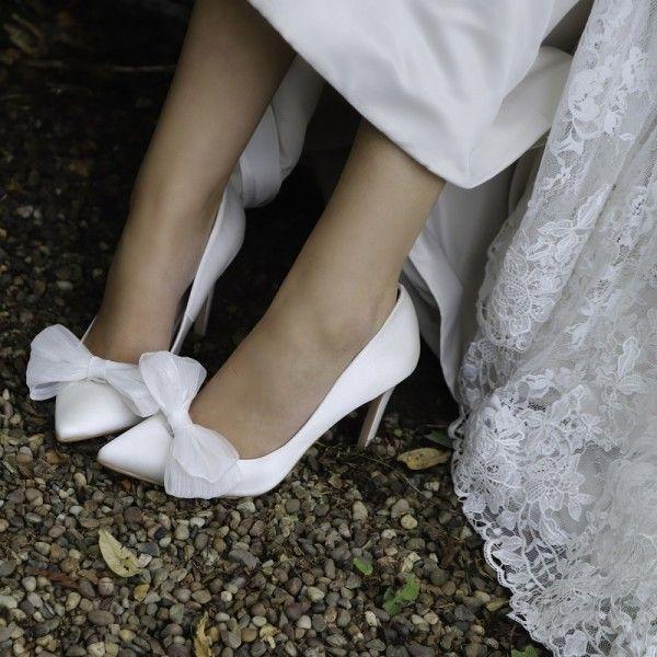 White Satin Bridal Heels Rhinestone Bow Heels Stilettos Pumps For