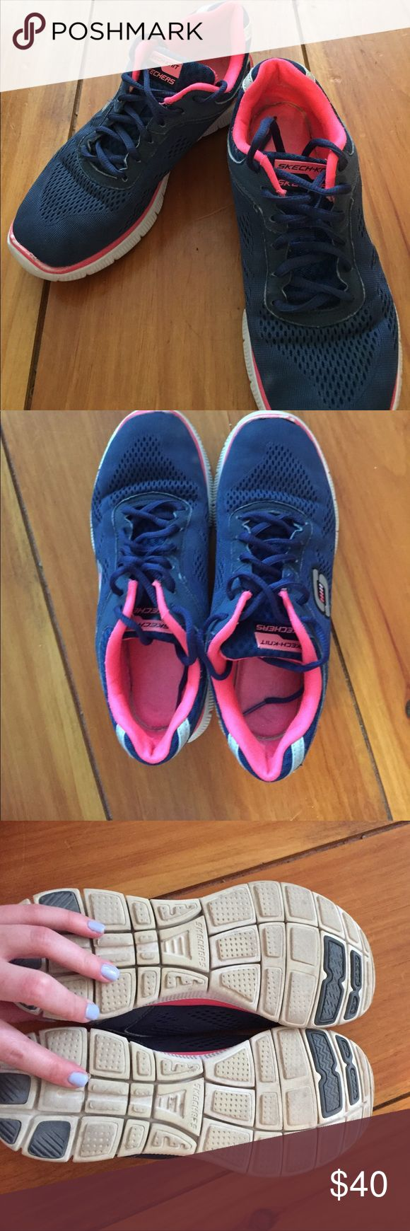 Skechers memory foam sneakers Great condition! Memory foam bottom is super comfortable and adaptable. Easy to clean, and super cute. Willing to accept reasonable offers but no trades. Nike Shoes Athletic Shoes