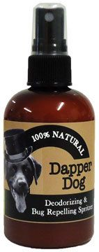 Natural deodorizing spray for your doggy's coat or their bedding area. 10% of Dapper Dog profits are donated to a local-no kill shelter and spay/neuter programs. Ingredients: essential oils of cedarwood, lemongrass, peppermint, lavender, and litsea cubeba (citrus). This combination of essential oils have great insect repelling properties. 4 fl. oz.