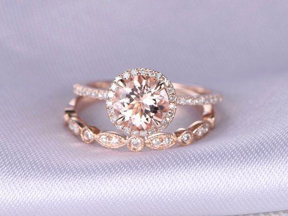 2pcs Wedding Ring SetMorganite Engagement ring14k Rose by milegem