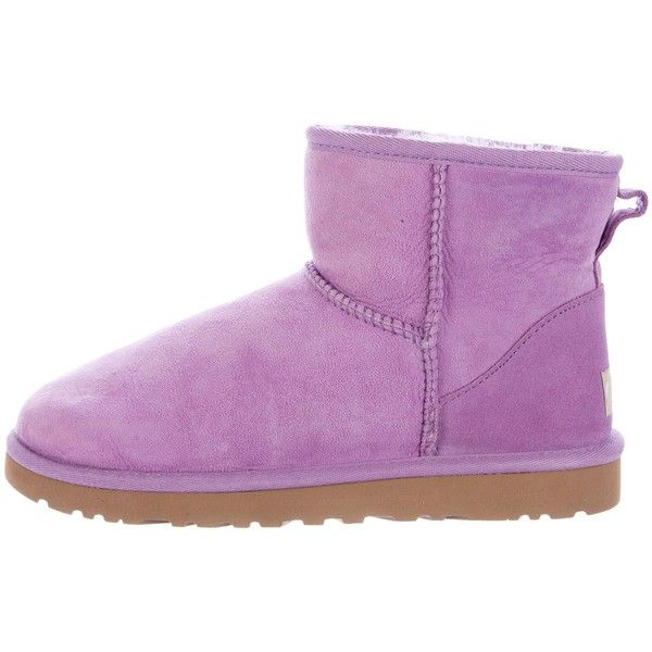 Pre-owned UGG Australia Mini Ankle Boots ($75) ❤ liked on Polyvore featuring shoes, boots, ankle booties, purple, ugg boots, suede booties, purple ankle boots, bootie boots and ankle boots
