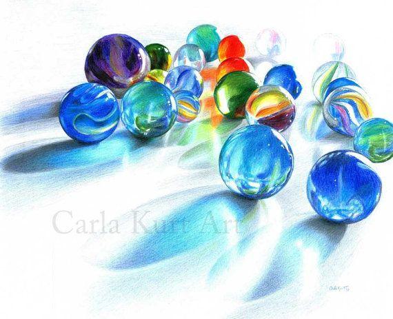 BLUE MARBLE REFLECTIONS Original Artwork by Carla door CarlaKurtArt