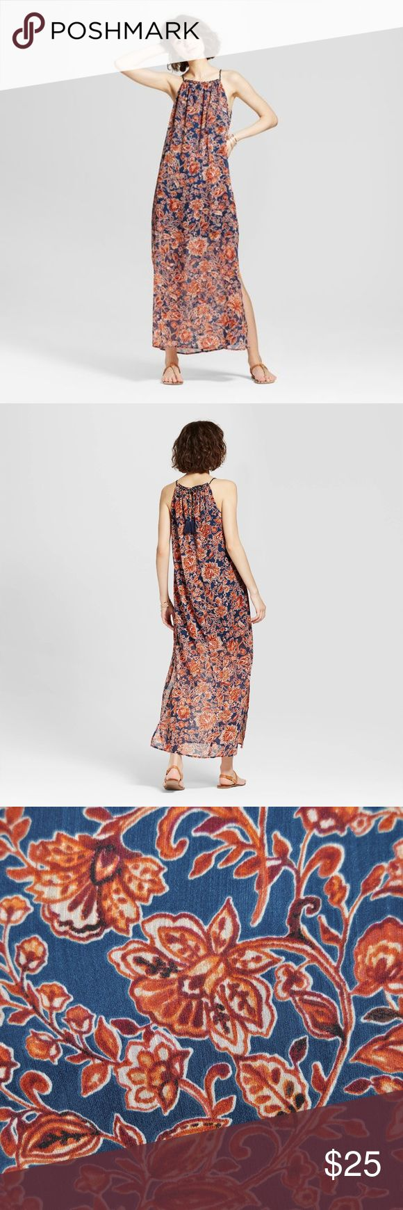 "NEW Copper Floral High-Neck Printed Maxi Dress B3 Show off the carefree spirit of bohemian style. A flowing silhouette brings movement to your look while giving off an effortless vibe that's perfect for strolling the boardwalk or enjoying an outdoor brunch w/friends. Finish off your look by slipping into comfy sandals &  adding dramatic earrings to complement the lively pattern on the dress. Tassels hang at the tied-back detail for an added fun spark. Model wears S/5, 5'9.5""  size S…"