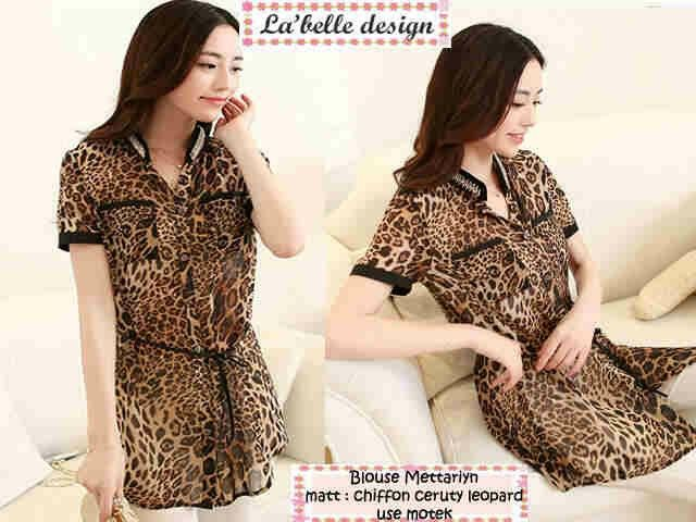 Blouse Merilyn Leo Rp.73rb min2 Rp.68rb,matt chiffon cerutty motif leopard use motek fit L
