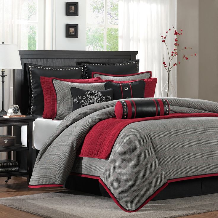 Perfect with Deep Crimson Red PeachSkinSheets .... The Hampton Hill Cambridge ensemble features a classic menswear plaid with accents of red faux suede and black faux leather. The decorative pillows feature embroidery, button accents, pewter finished nail heads, and piecing | pinned by PeachSkinSheets.com