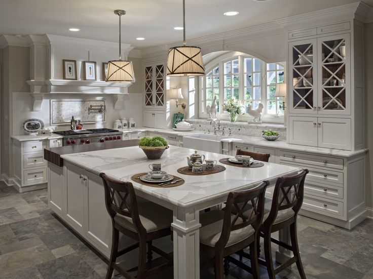 Amazing Design Ideas Of Traditional Kitchen With Rectangle Shape White Kitchen Island And White Marble Countertop Also White Kitchen Cabinets And High ...