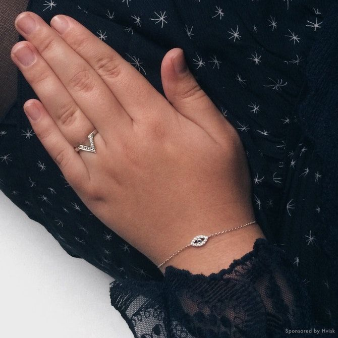 Styling by johanneappel - Hvisk Stylist Community #hvisk #hviskstylist #hviskjewellery #jewellery #jewelry #fashion #outfit #silver #ring #bracelet #evileye #blue #lace #white #skirt #winter #scandinavian