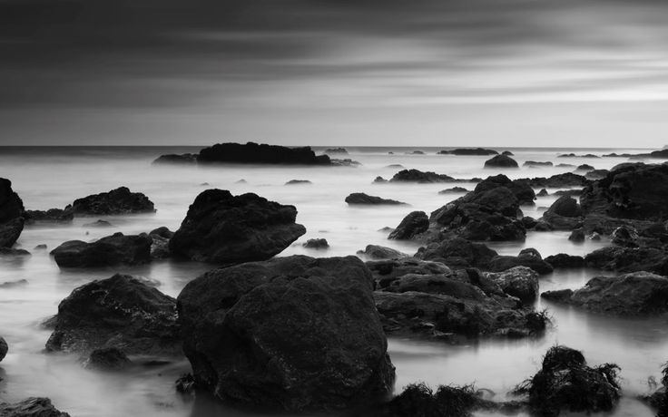 Rocks on water, Black & White  #nature #water #landscapes #photography #wallpapers
