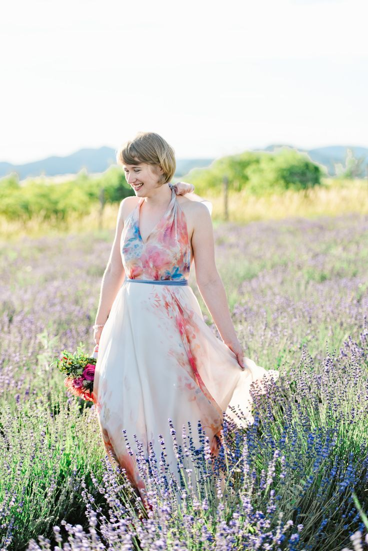 Flower printed organza bridal gown for our lovely bride, Zsuzsi! We love this lavender field <3