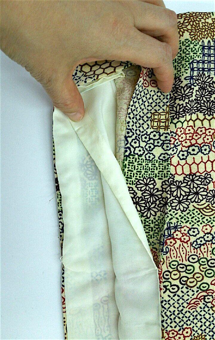 お袖の縫い代は表地が1寸5分(5.5㎝)。裏地が約5分(2㎝)ありました。  今回は袖が4分(1.5㎝)長くできそうです!!