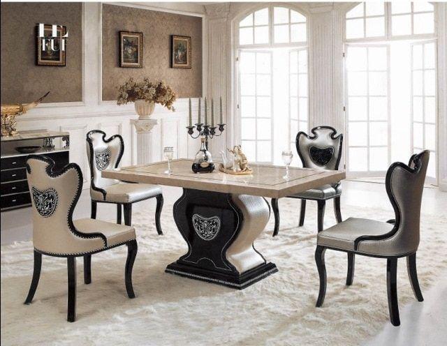 الأزياء الأبيض طاولة طعام كراسي قطع أثاث لغرفة الطعام Dining Table Chairs Marble Tables Living Room Luxury Dining Tables