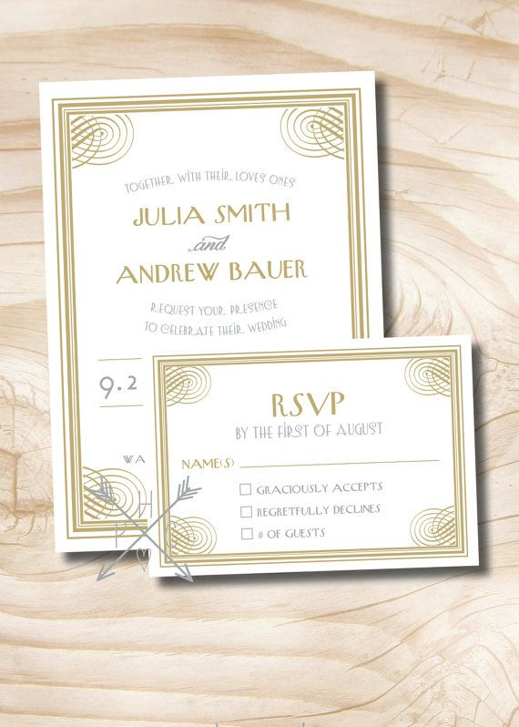 ART DECO 1920s GATSBY Wedding by PaperHeartCompany on Etsy, $200.00