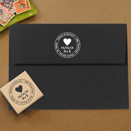 Heart Address Stamp for Save the Dates & Wedding Invitations. $28.00, via Etsy.