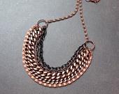 Cobre Ombre Multistrand Collar con Chunky Cadenas de metales mezclados