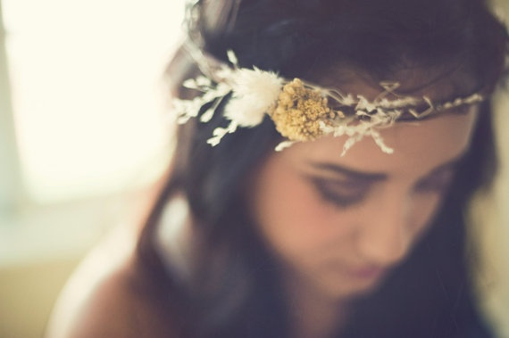 Floral Headpiece - Recommend for this look that the floral piece be worn on the crown of the head