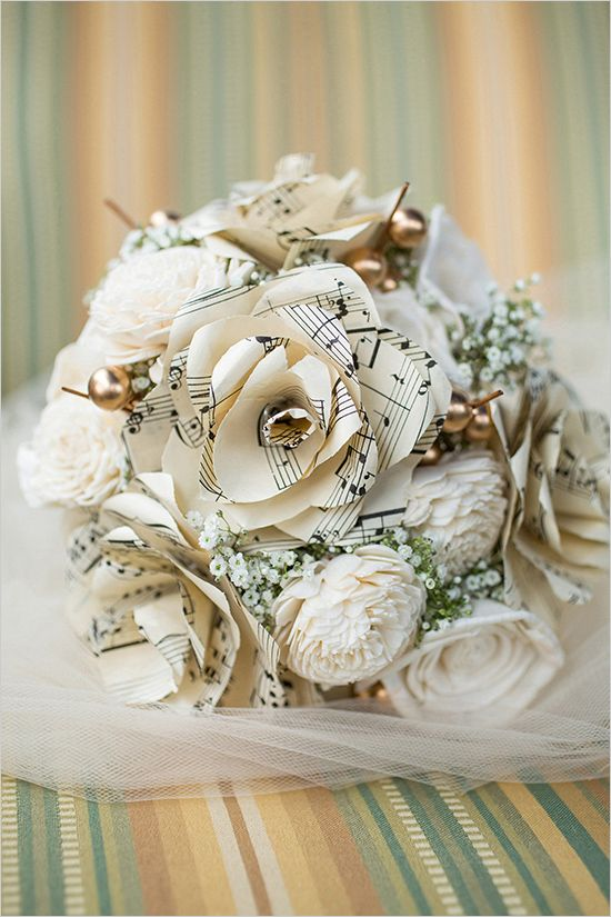Music paper flower bouquet @weddingchicks
