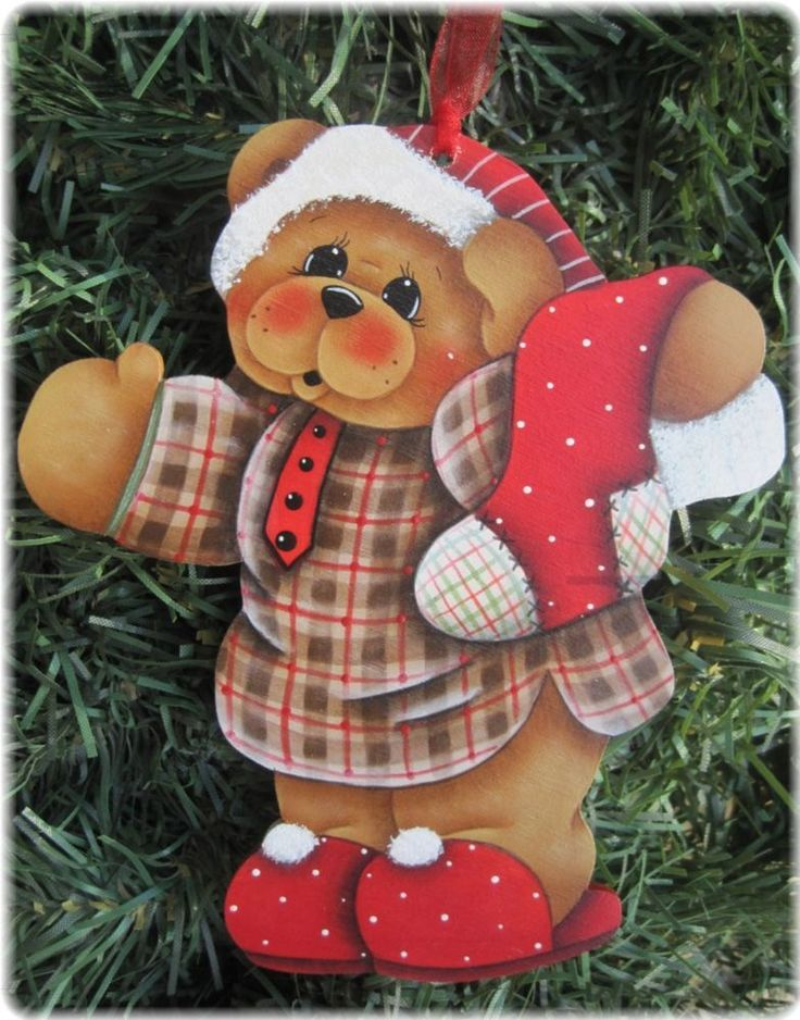 HP TEDDY BEAR with Stocking ORNAMENT #Handpainted