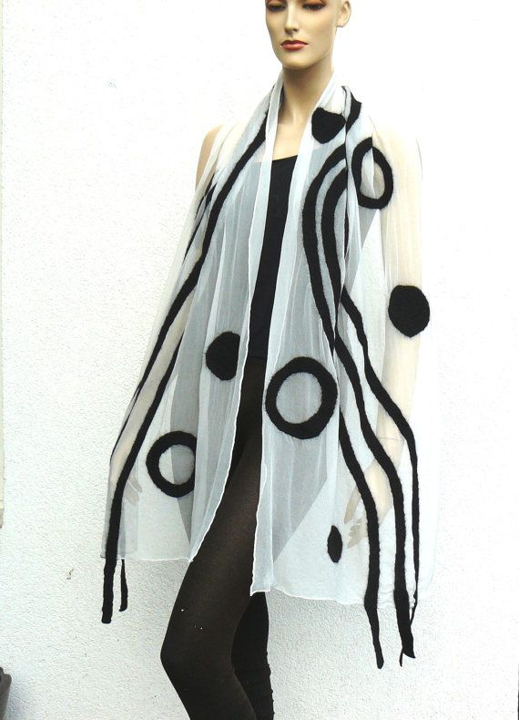 Nuno felted scarf silk and wool - hand made felting white black - 2013 new fashion collection