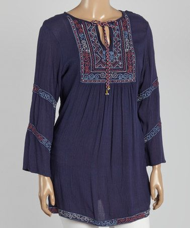 Look what I found on #zulily! Navy & Embroidered Notch Neck Tunic - Plus by Highness NYC #zulilyfinds