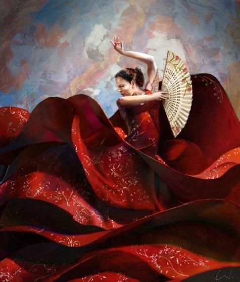 Flamenco !!#Repin By:Pinterest++ for iPad#Red Sea, Belly Dance, Flamenco Dancers, Dance Dresses, Digital Art, Digital Painting, Weights Loss, Spain, Francisco Jose