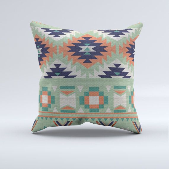 Blue, turquoise, coral and mint aztec throw pillow, throw pillow, modern pillow, coral, mint, aztec, home decor, bedroom, modern