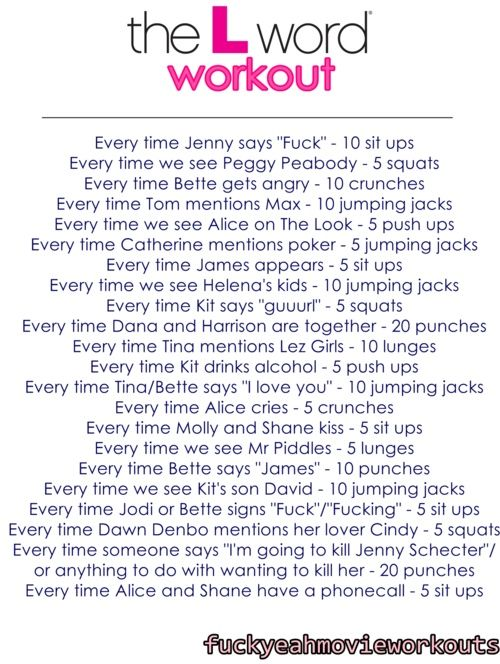 The L Word workout. #VelvetSeduction @VSToysAndTreats Toys and Treats for Women Who Love Women