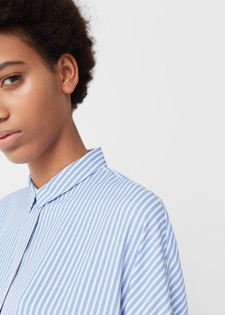 Струящаяся блузка в полоску | MANGO МАНГО